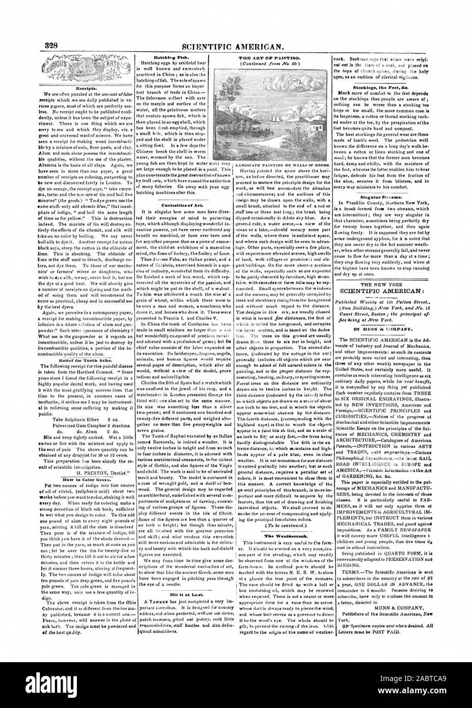 SCIENTIFIC AMERICAN. Les reçus. FurTooth secours Ache. Comment mettre de la couleur verte. Poissons correspondant. Curiosités d'art il träller enfin. La girouette. Flux singulier. SCIENTIFIC AMERICAN: PAR MUNN di COMPANY. New York. L'OP'ART DE LA PEINTURE. Bas les pieds &., 1847-07-03 Banque D'Images
