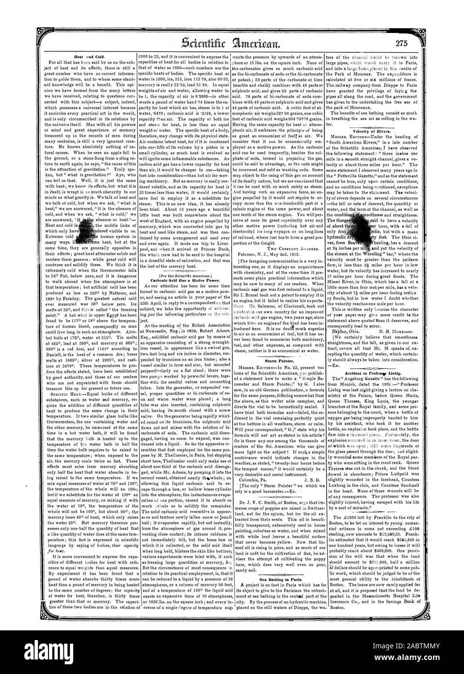 Et il est commode d'exprimer la tempête Pointeur. Les bains de mer à Paris. La chaleur et le froid. [Pour l'Beientilie Amériques. Le gaz acide carbonique une force motrice. Vitesse de l'eau. Professeur à l'accident. Liobig, Scientific American, 1853-05-14 Banque D'Images