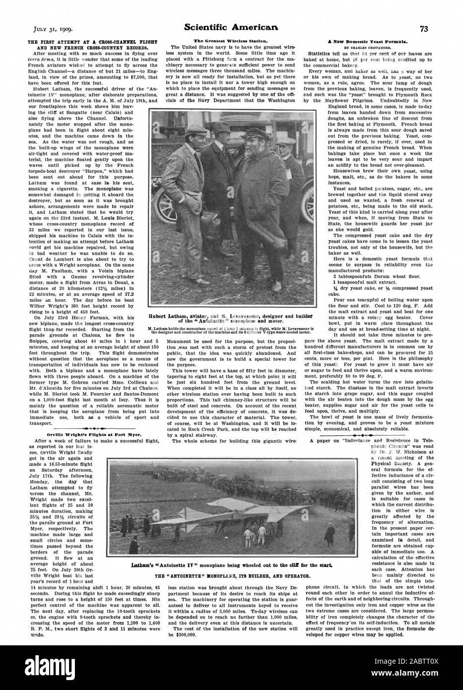 La première tentative de vol cross-canal ET DE NOUVEAUX DOSSIERS DE FOND FRANÇAIS. Mauvais 4 Orville Wright's Vols à Fort Myer.. La plus grande station sans fil. développé pour les fils de cuivre peuvent être appliquées. Hubert Latham aviator et M. LEVAVASSEUR concepteur et constructeur de l'Antoinette' et 'monoplan à moteur. L'un 'LA Latham '' son monoplan ANTOINETTE BUILDER ET L'opérateur., Scientific American, -1909-07-31 Banque D'Images