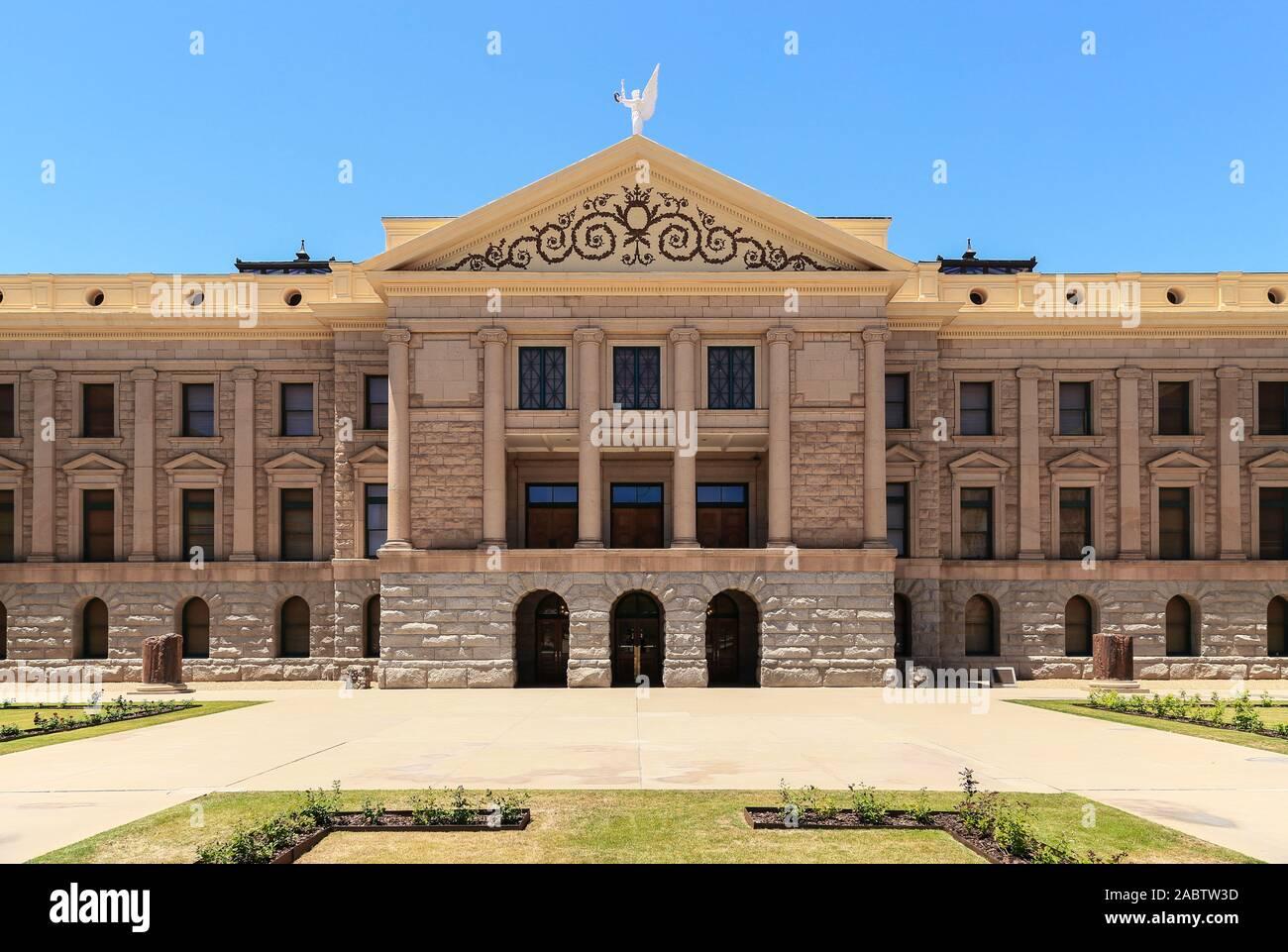 Phoenix, Arizona, USA - Le 25 mai 2019: l'avant de l'Arizona Capitol Museum au cours de la journée au soleil. Banque D'Images