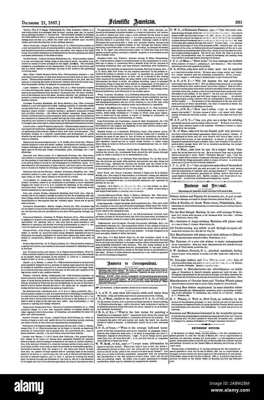 La MACHINE POUR LE LISSAGE DE REPASSAGE OU DE TISSUS TEXTILES Vêtements ETC AMP. Les avis de prorogation, Scientific American, 1867-12-21 Banque D'Images