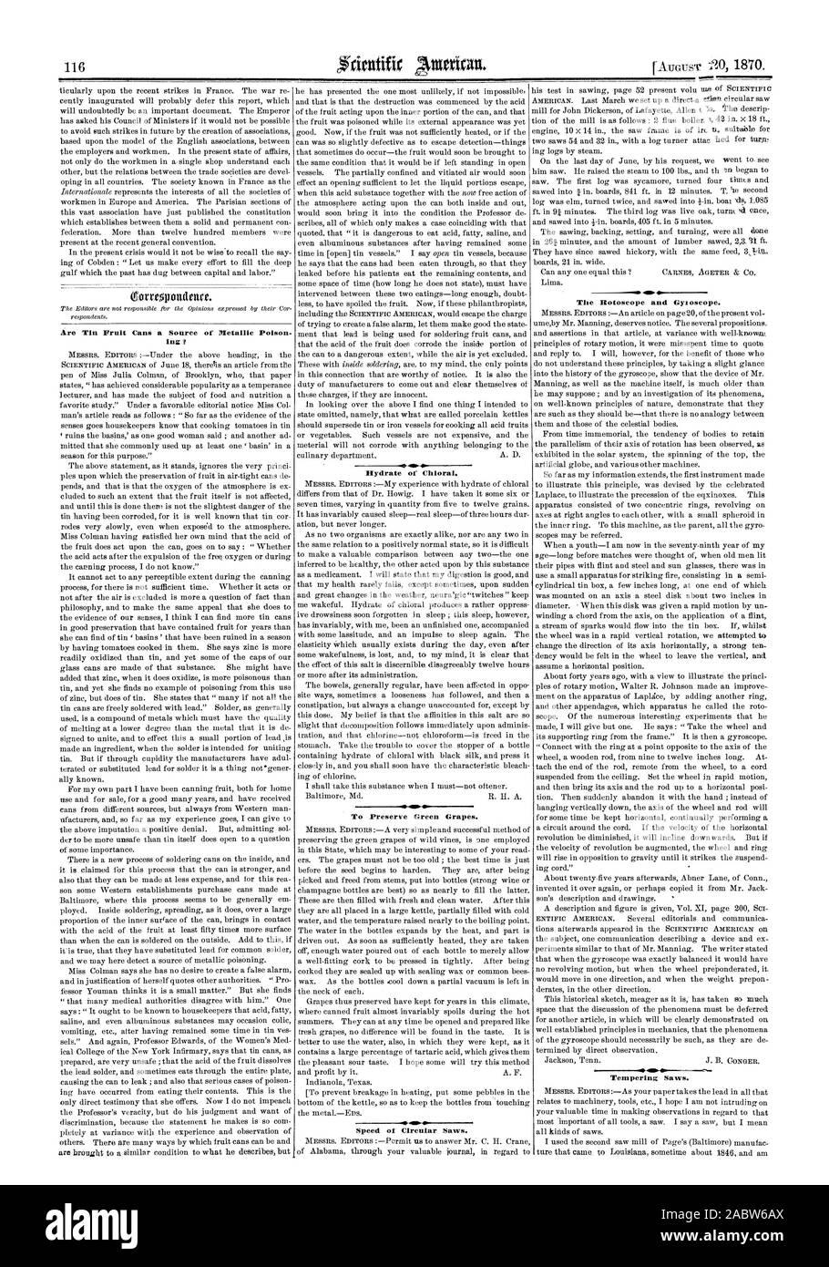 De l'Hydrate de chloral. Afin de préserver le raisin vert. Vitesse de scies circulaires. 41 . L'Rotoscoper et Gyloscope. La trempe des scies., Scientific American, 1870-08-20 Banque D'Images