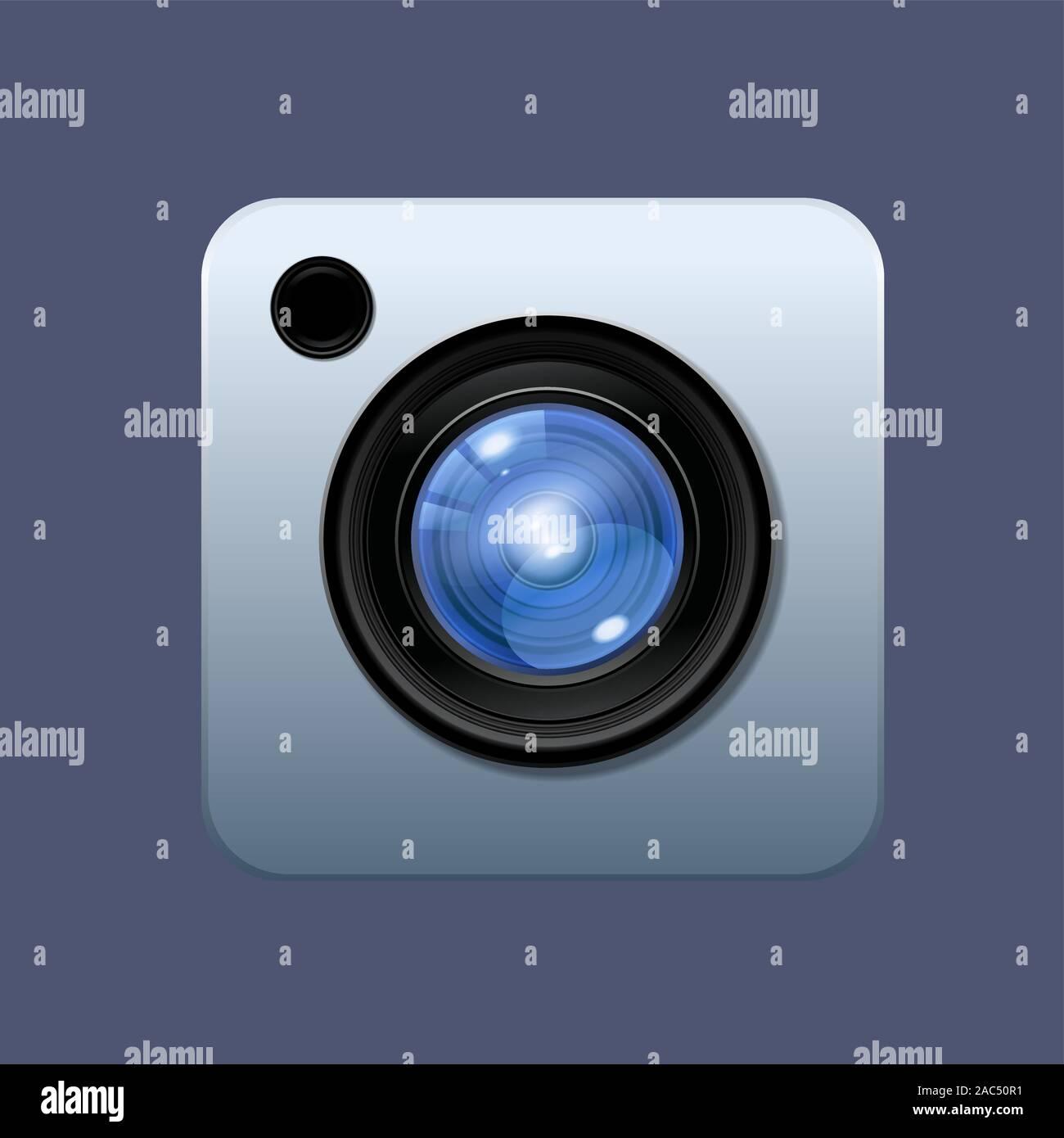 Objectif de l'appareil photo numérique Illustration icône vecteur sur fond coloré de style dessins animés Illustration de Vecteur