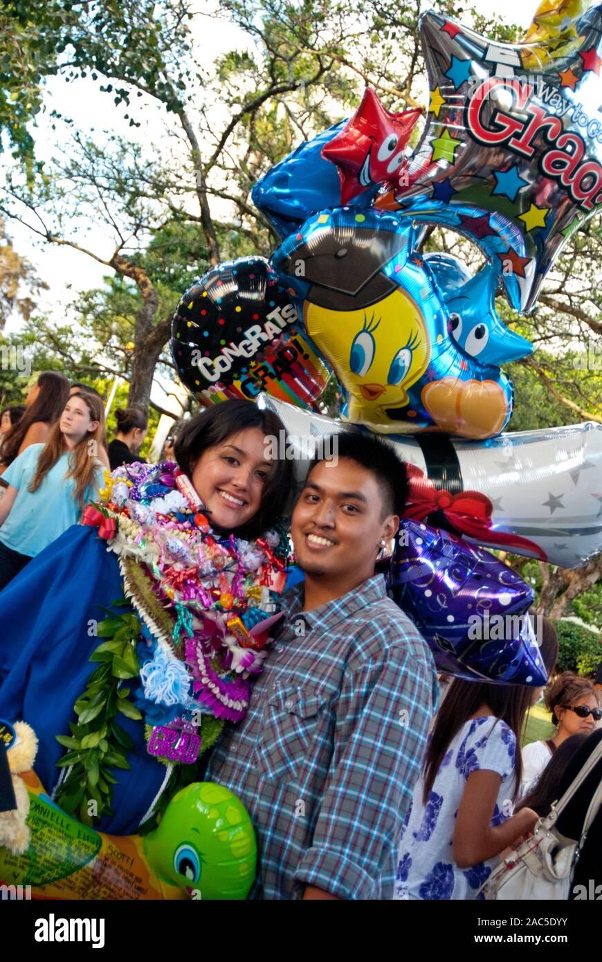 L'obtention du diplôme de l'Académie de la région du Pacifique, maintenant une école privée fermée, à Honolulu, sur l'île de O'ahu. Banque D'Images