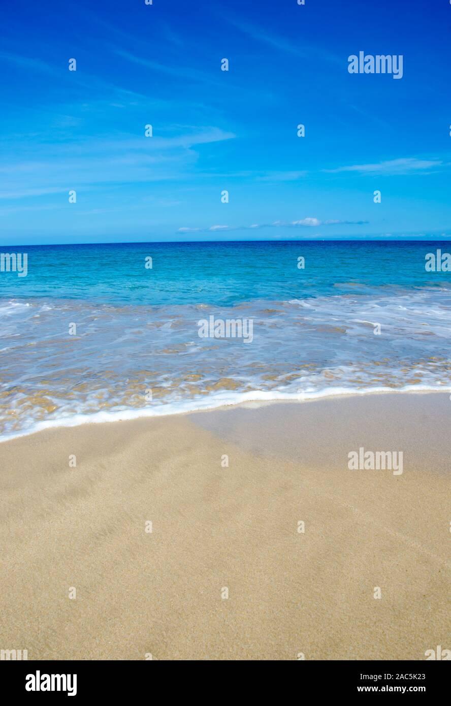 Hapuna Beach, le long de la Grande Île d'Hawai'i'S Kohala Coast. Cette plage de sable blanc a été considérée comme l'une des plus belles plages du monde de temps et temps Banque D'Images