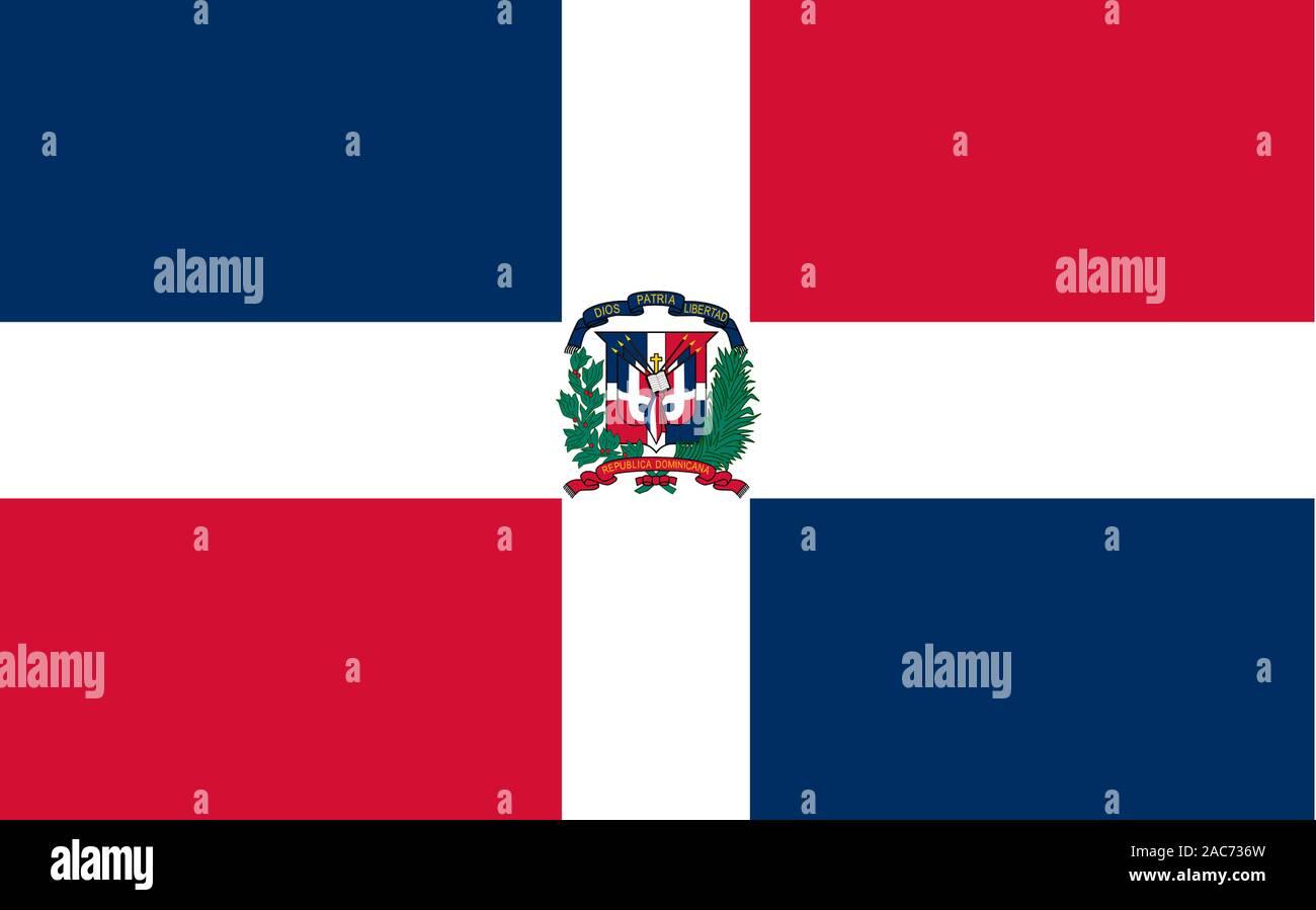 Nationalfahne, Flagge von Dominikanische Republik, Grosse Antillen, Insel Hispanola, Afrika, Banque D'Images