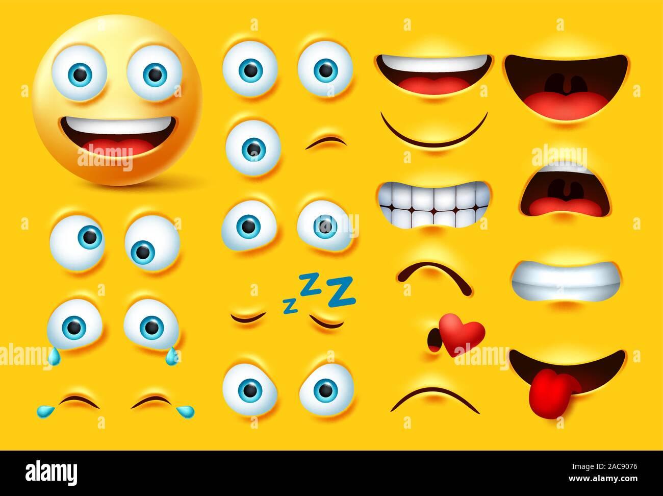 La Creation Du Personnage D Emoticones Smileys Vector Set Smiley Face Emoji En Kit Des Yeux Et De La Bouche En Colere Fou Pleurer Coquine S Embrasser Et Rire D Expression Image Vectorielle Stock