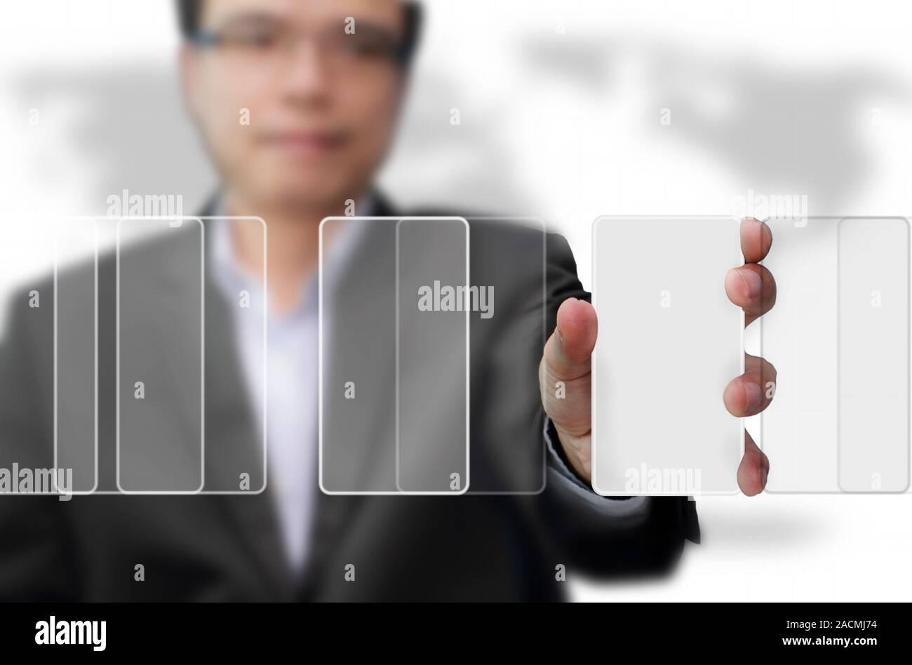 Utiliser un téléphone mobile Banque D'Images