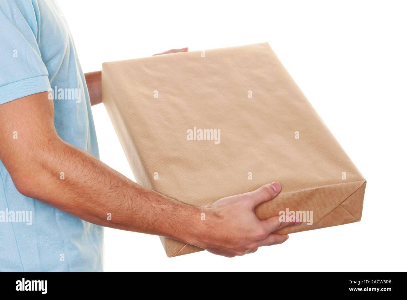 Messenger de Messenger Service livre les colis postaux Banque D'Images