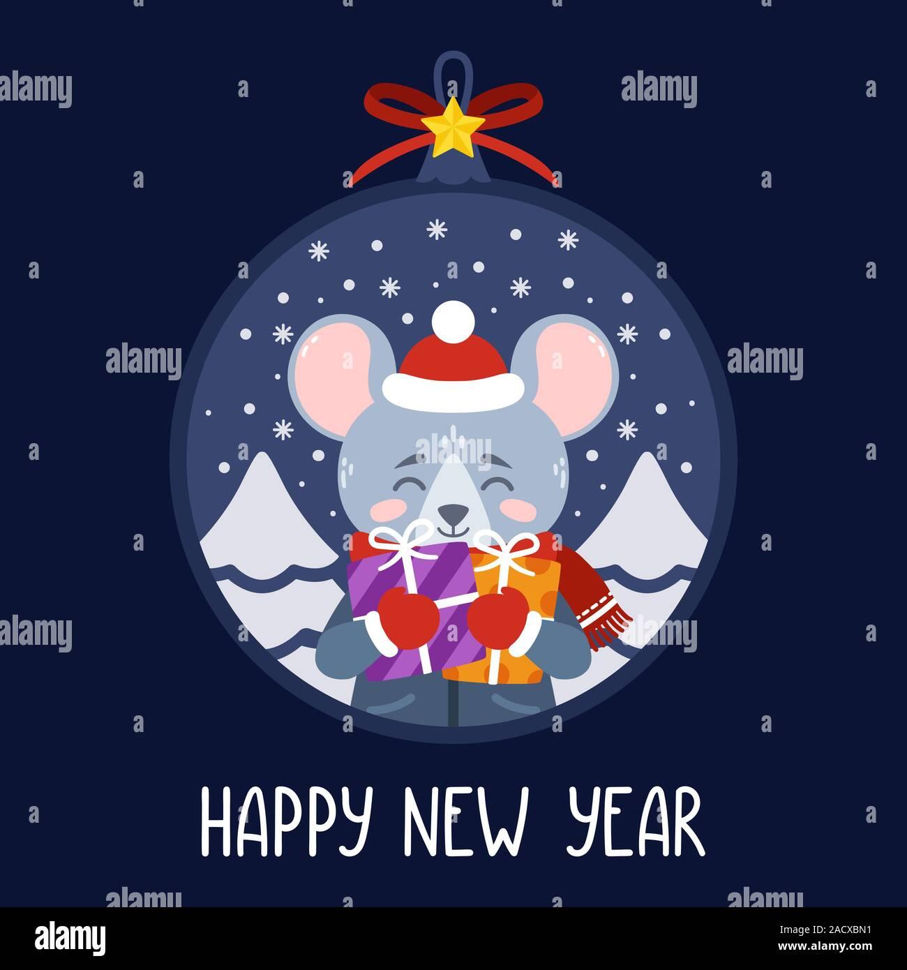 Boule de Noël avec l'image de rat holding gifts. Le symbole du Nouvel An chinois 2020. Carte de souhaits avec une souris pour le Nouvel An et de Noël Illustration de Vecteur