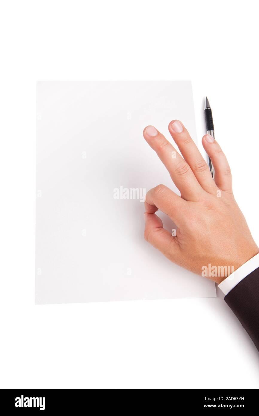 Image de l'homme main montre OK Plus de papier blanc vide Banque D'Images