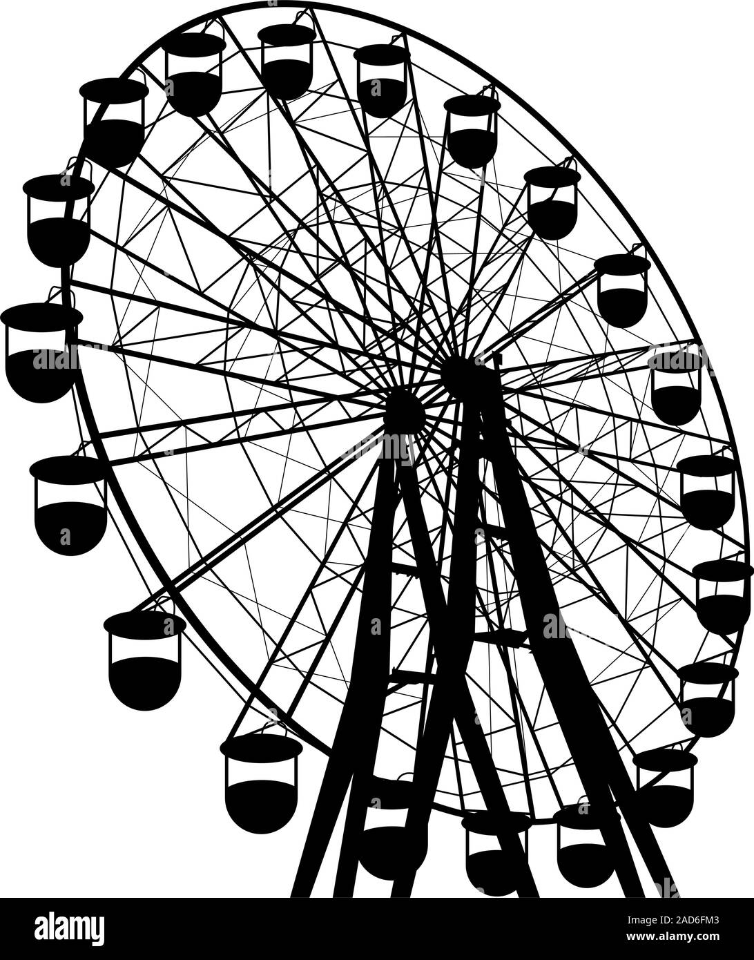 Atraktsion Silhouette grande roue colorée. Vector illustration. Illustration de Vecteur
