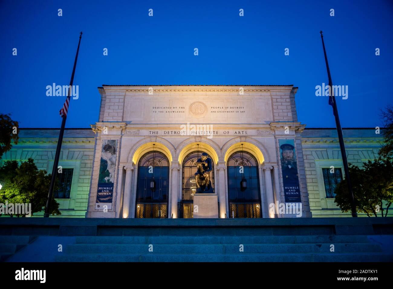 Façade principale du Detroit Institute of Arts, (DIA), l'une des plus grandes et des plus importantes collections d'art au United States, Detroit, Michigan, Banque D'Images