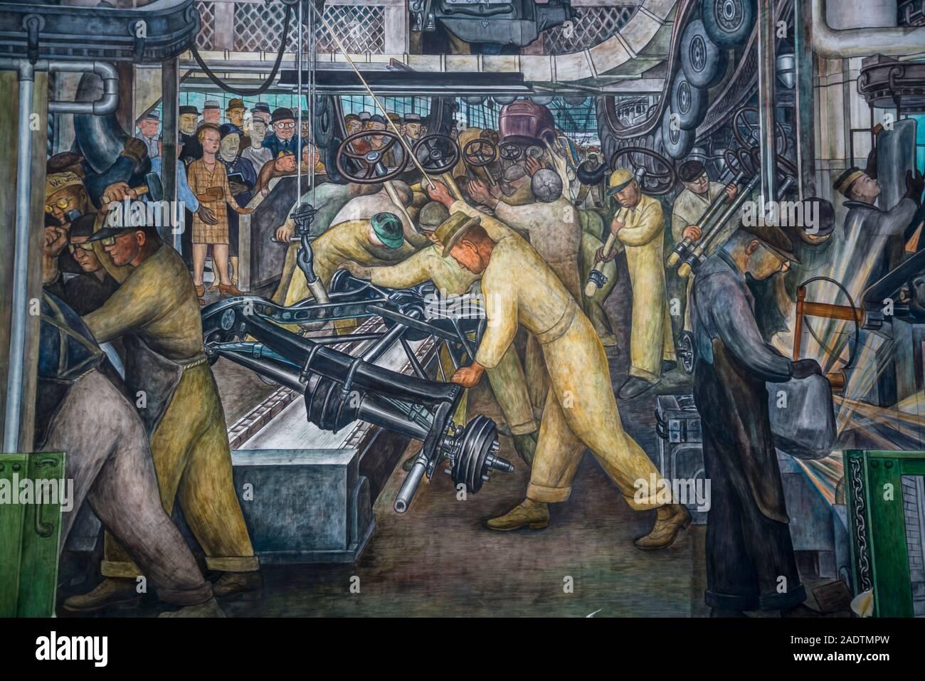 L'industrie de Detroit de murales, une série de fresques par l'artiste mexicain Diego Rivera, représentant l'industrie à la Ford Motor Company, la Cour Rivera Banque D'Images