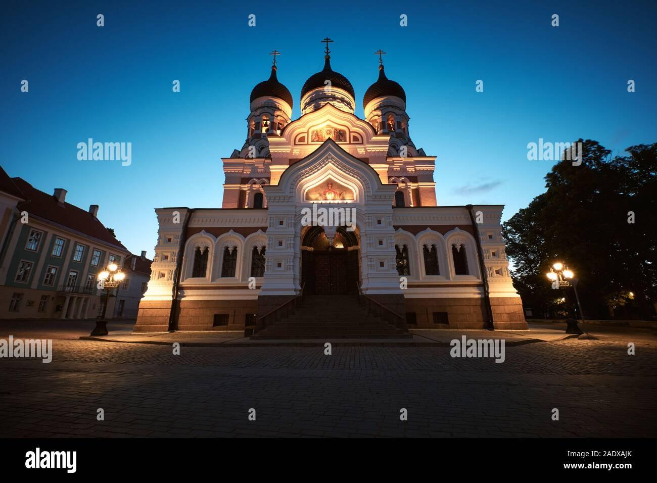 La cathédrale Alexandre Nevski, l'Église orthodoxe russe situé dans la vieille ville de Tallinn, Estonie Banque D'Images