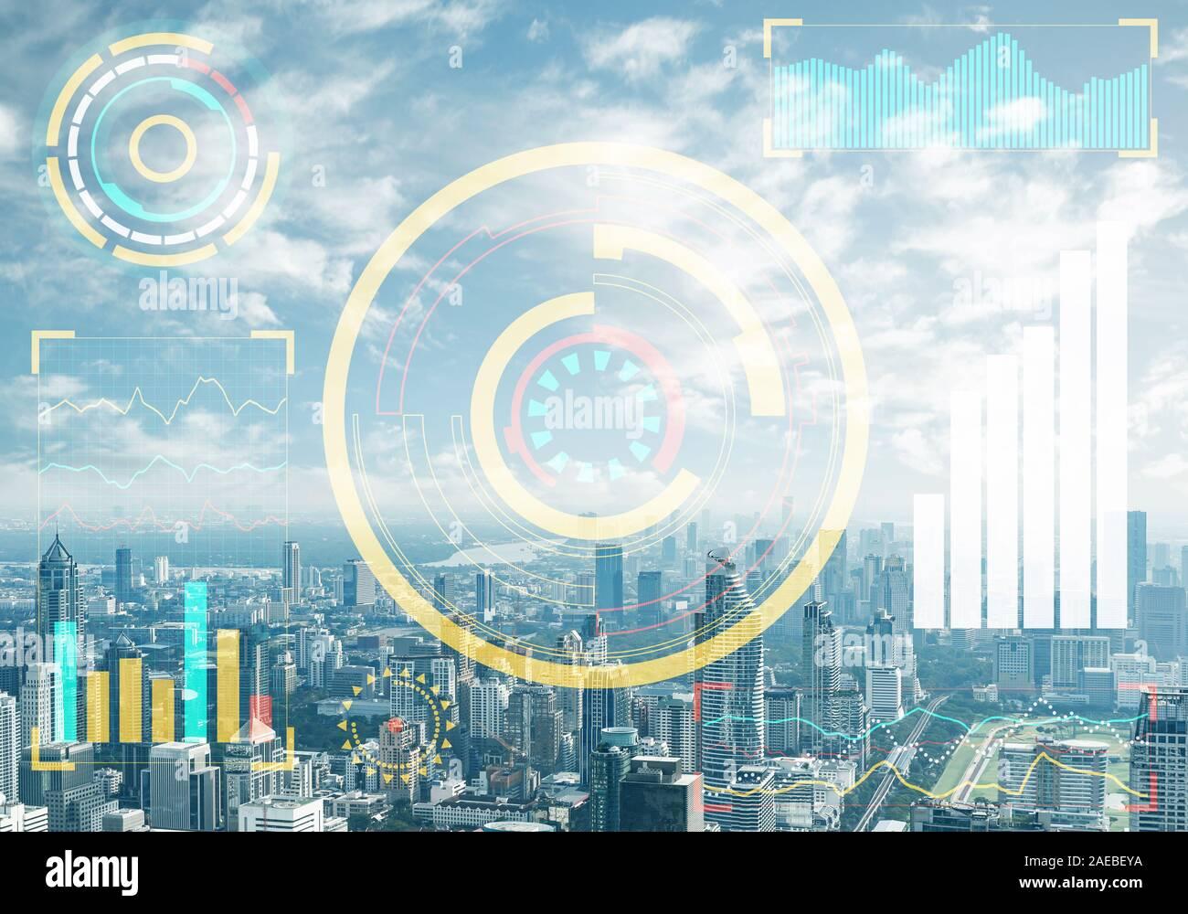 Concept d'entreprise double exposition avec des graphiques Banque D'Images
