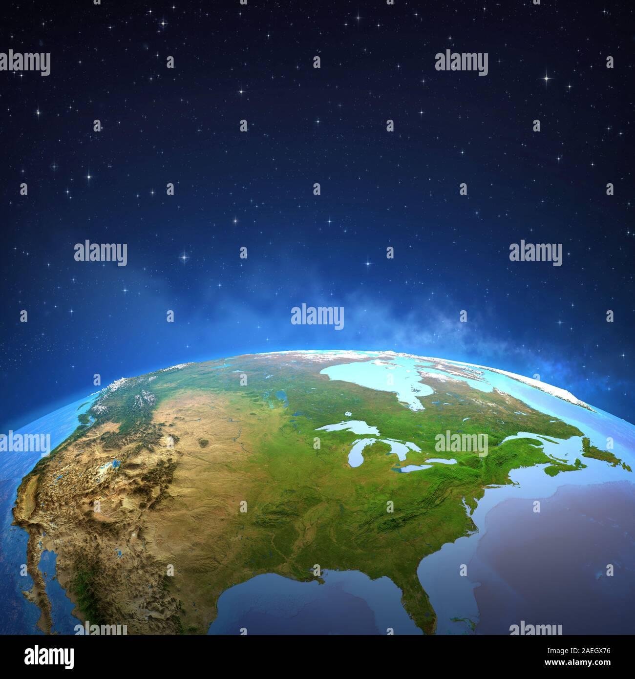 Surface de la planète Terre vue d'un satellite, l'accent sur l'Amérique du Nord. Illustration 3D - Éléments de cette image fournie par la NASA. Banque D'Images