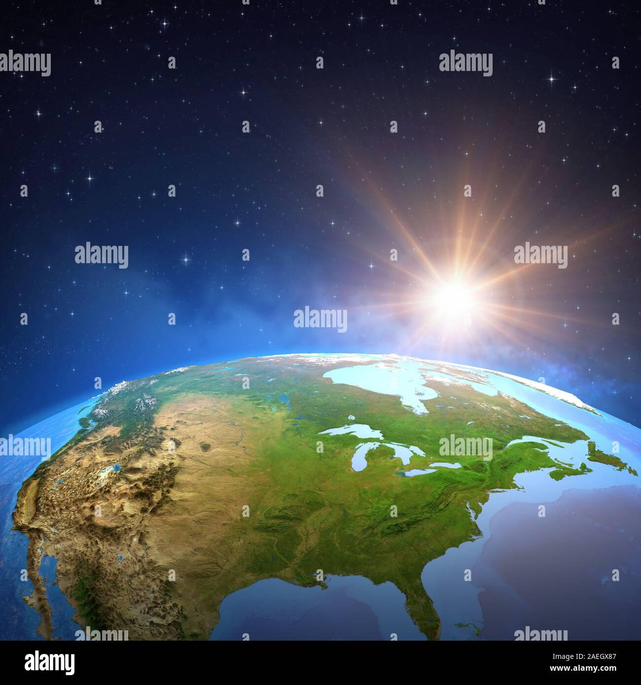 Surface de la planète Terre vue d'un satellite, l'accent sur l'Amérique du Nord, soleil qui brille dans l'espace lointain. Illustration 3D - Éléments de cette image fur Banque D'Images