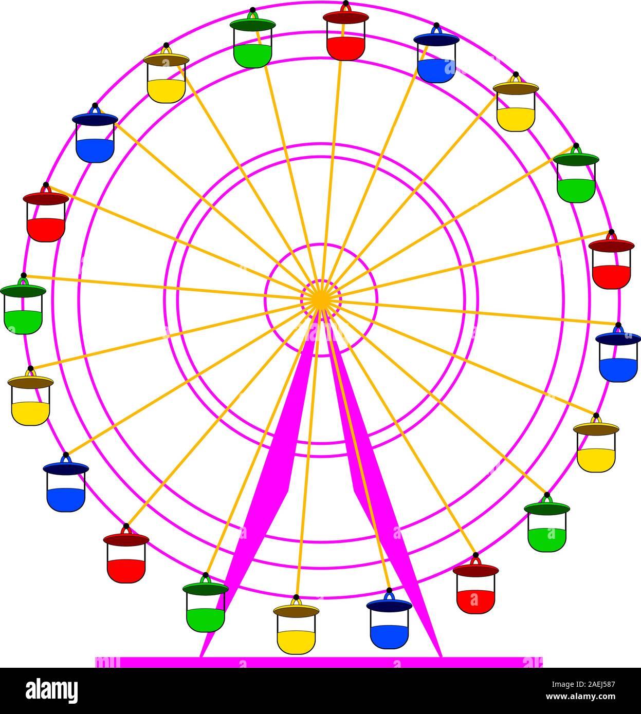 Atraktsion Silhouette grande roue colorée. Vector illustration. Illustration de Vecteur