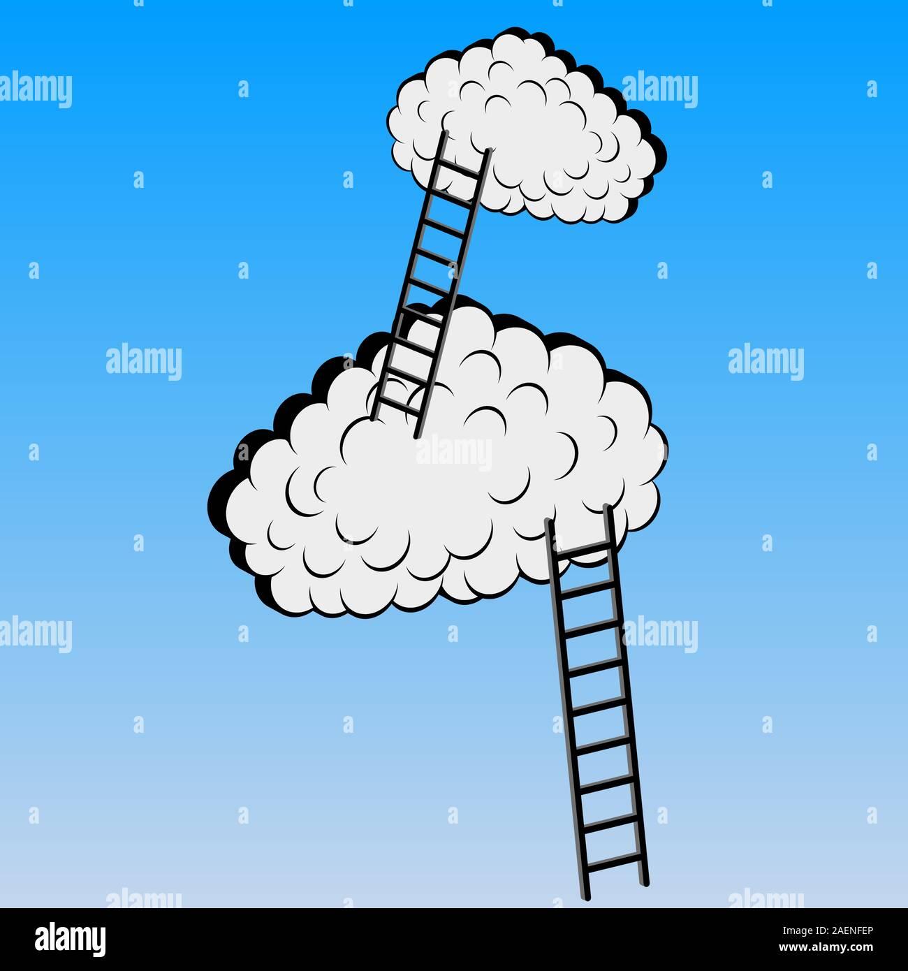 Les nuages avec des escaliers, vector illustration Illustration de Vecteur