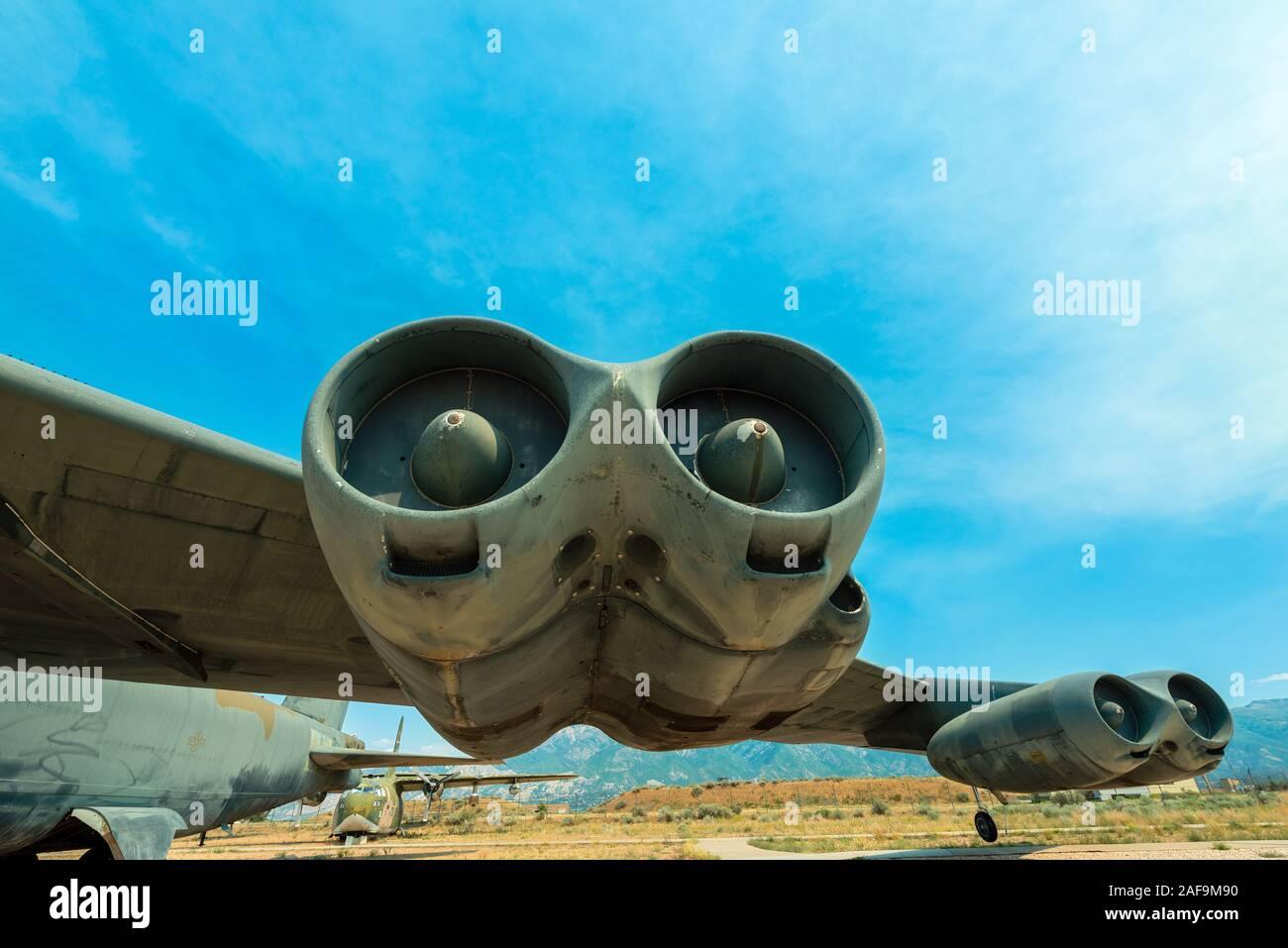 Moteurs sur l'aile d'un avion B52 Historique Banque D'Images
