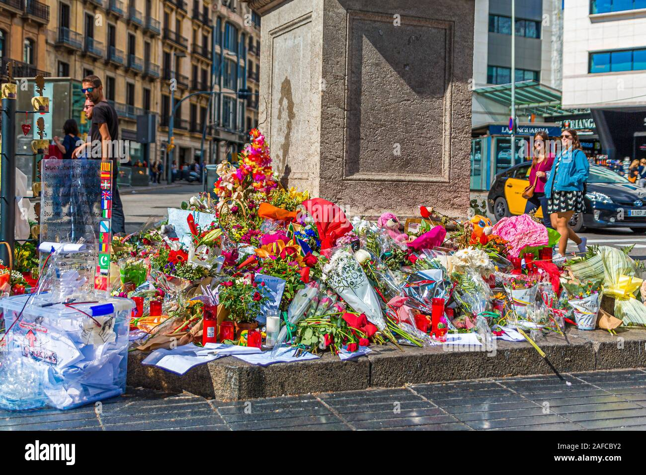 Attaque terroriste de Barcelone Memorial Banque D'Images