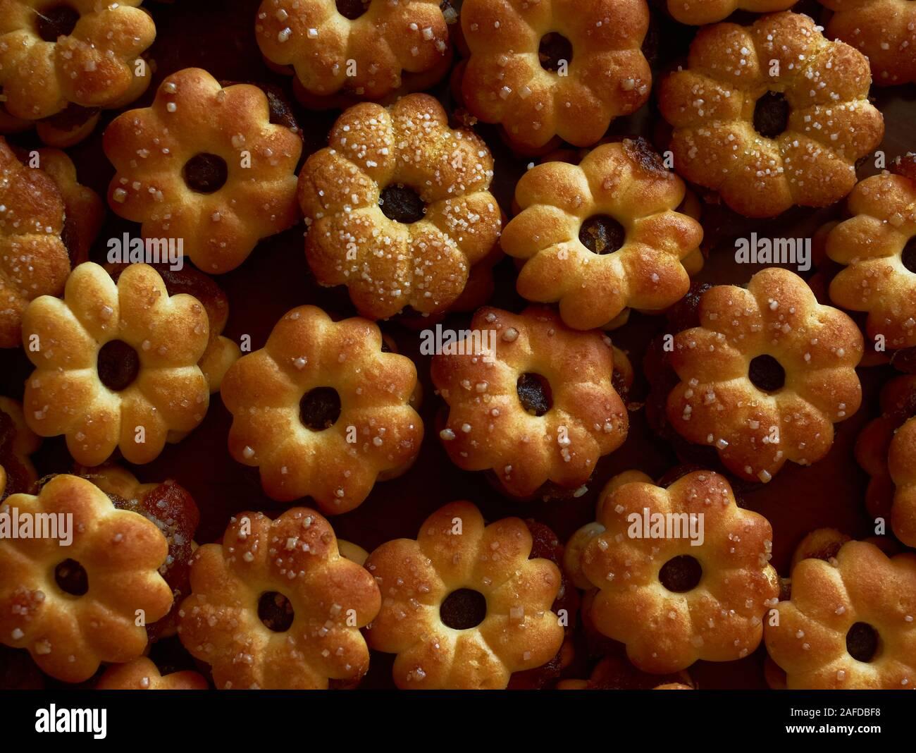 Contexte Les biscuits avec de la confiture d'ananas Banque D'Images