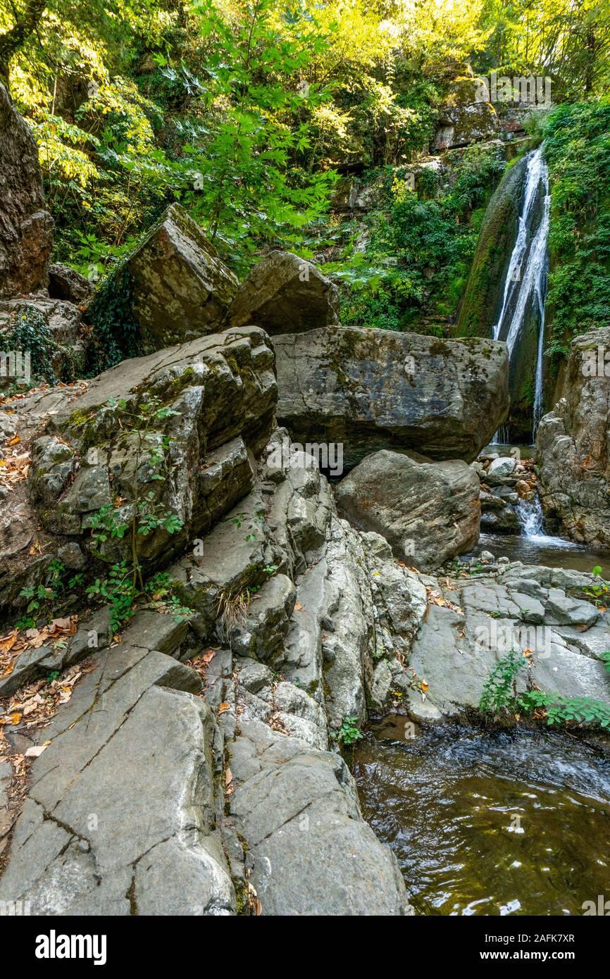 Cascade et rochers sur l'arrière-plan d'arbres en Grèce à la verticale Banque D'Images