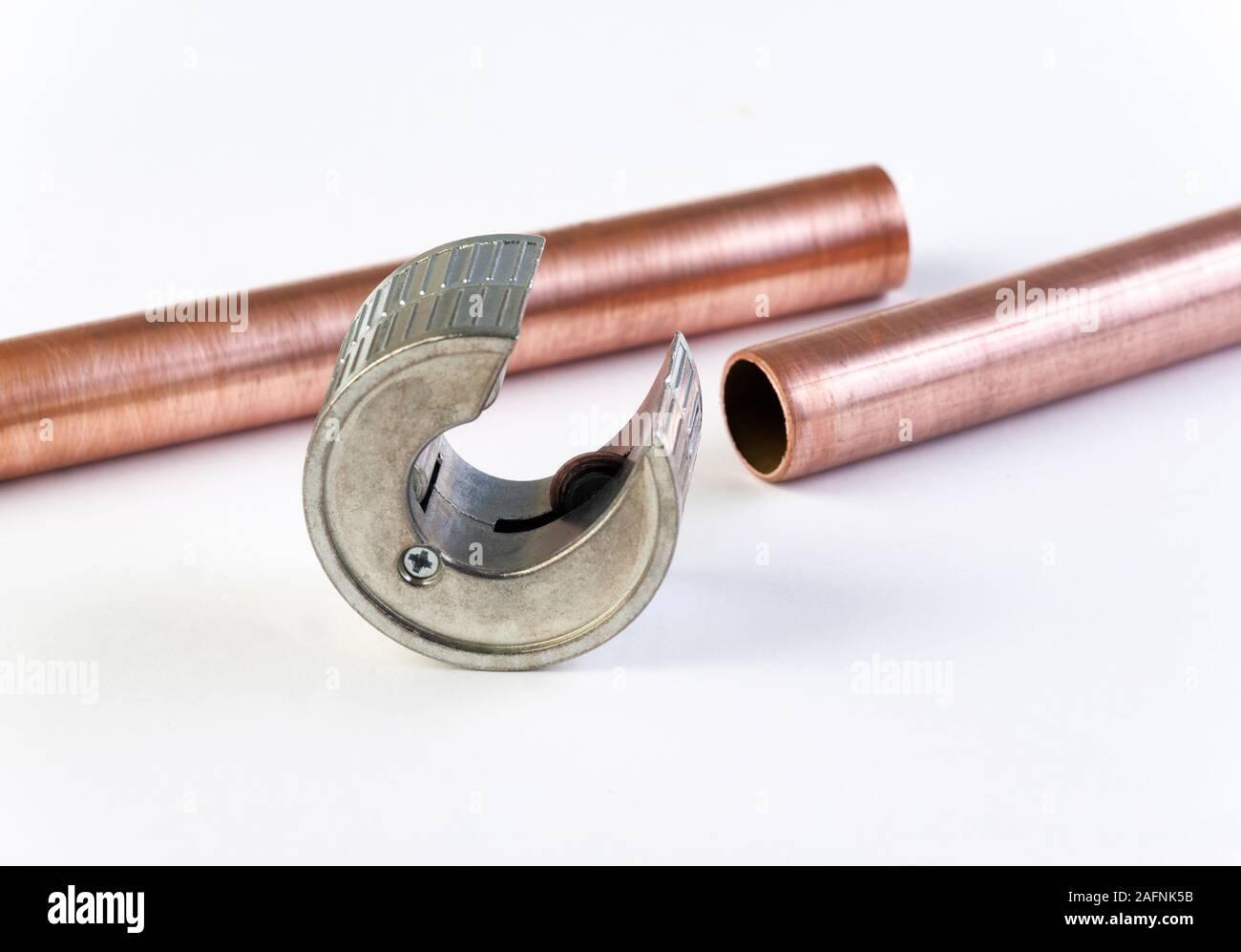 L'outil coupe-tube utilisé pour couper des tuyaux Banque D'Images