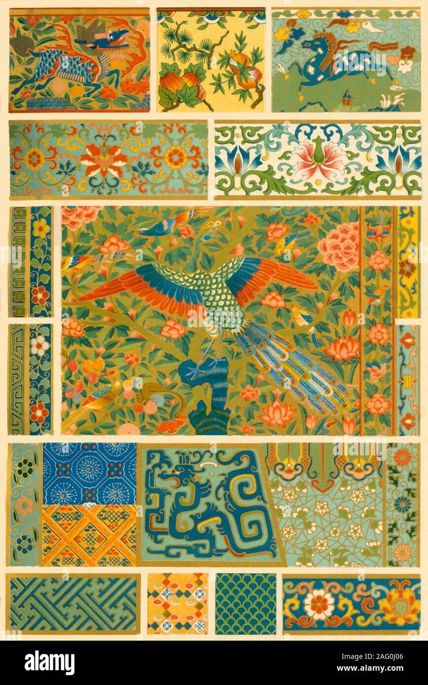 La peinture chinoise, le tissage, la broderie et cloisonn&#xe9;, (1898). Exemples de décor peint, les textiles et l'émaillage: 'Fig 1: représentations classiques de fruits et de fleurs peintes sur la porcelaine. Fig 2: frontière peint à partir d'un navire de la Chine. Fig 3: Peinture d'un petit coffre en bois. Les figures 4, 5 et 6: Des parties de double-rideaux brodés d'or et de la soie (XV siècle). Fig. 7, 8 et 9: Modèles à partir de tissus animaux. Fig 10 et 11: Partie de l'ancienne Chine vase-cuivre exécutées dans '&#xe9;mail cloisonn&#xe9;' [un type de l'émaillerie]. Figs 12-23. Ornements sur vases, bols et encensoirs exécuté en Banque D'Images