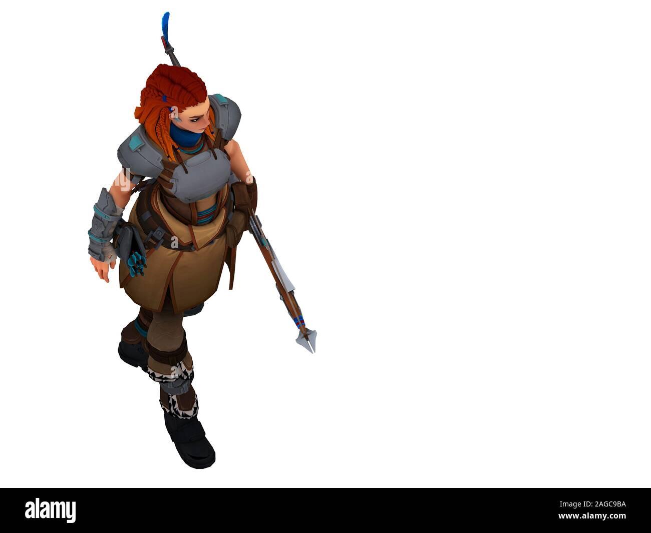 3D render of fighter warrior woman Banque D'Images