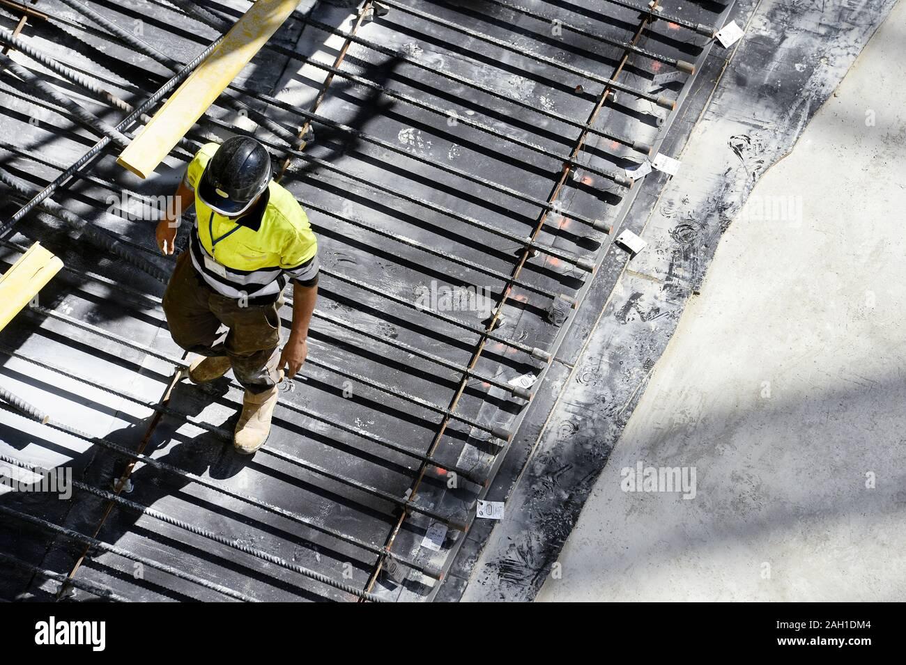 Travailleur sur chantier - France Banque D'Images