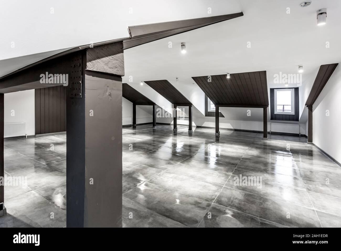 Sol En Beton Interieur loft meublé vide intérieur chambre mansarde avec des
