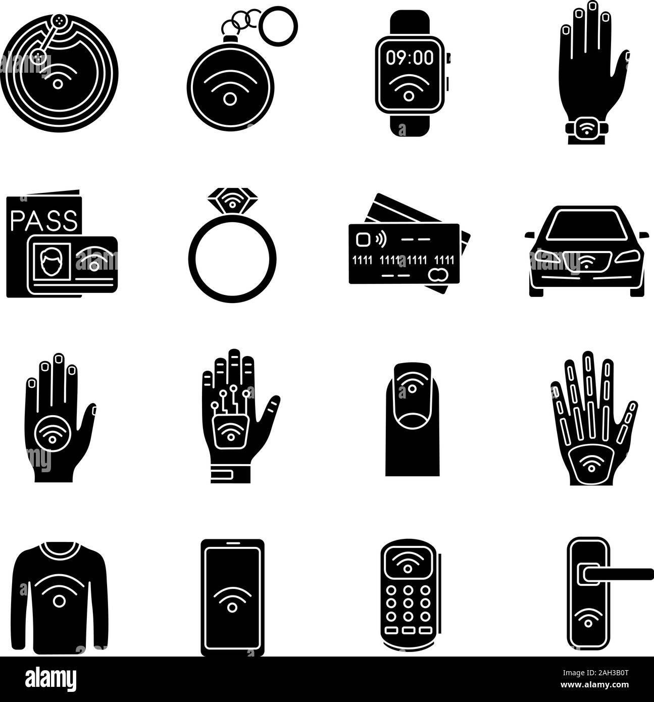 La technologie NFC glyphe icons set. La communication en champ proche. Tag RFID et NFC, autocollant, phone, bibelots, anneau, implant. La technologie sans contact. Silhouette Illustration de Vecteur