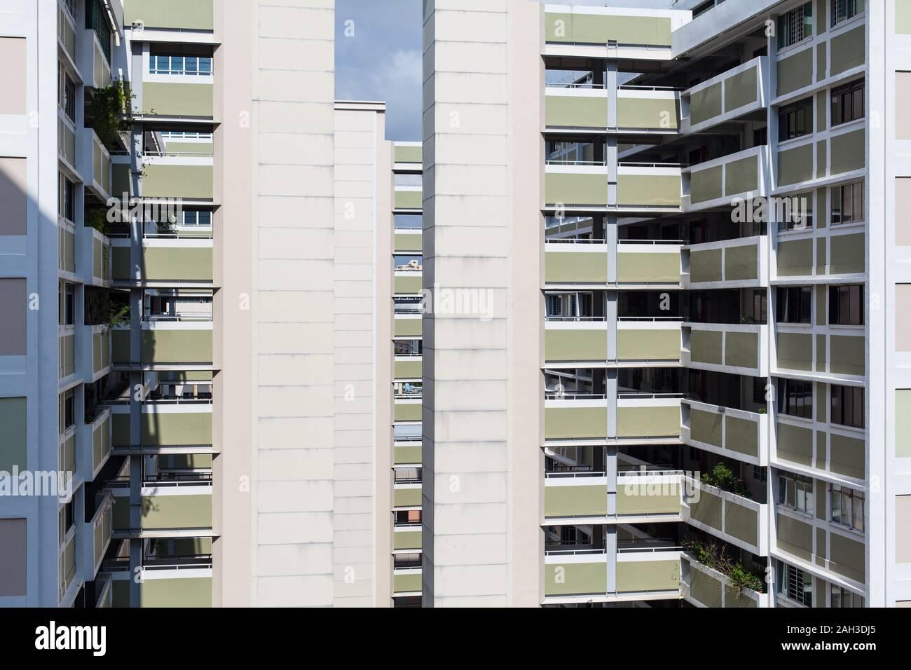 L'architecture des blocs fonction HDB à Chinatown, Singapour Banque D'Images