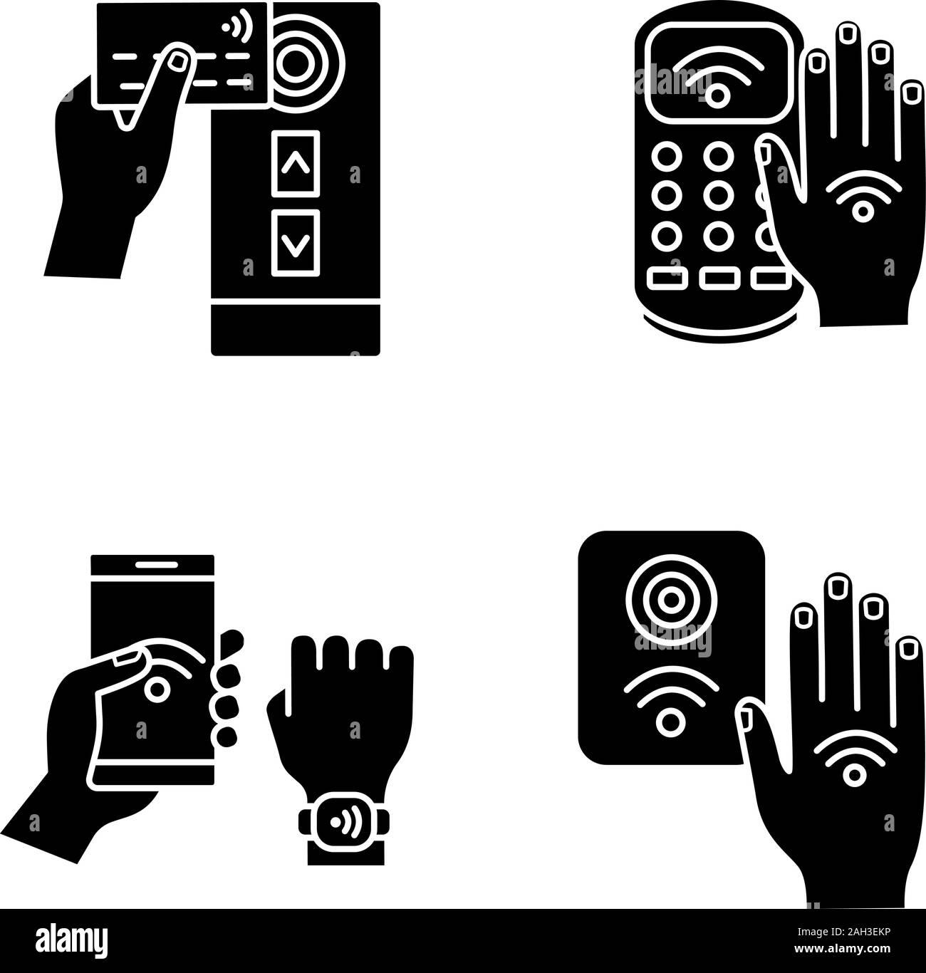 La technologie NFC glyphe icons set. Lecteur de carte de crédit en champ proche, la borne de paiement, bracelet, contrôle d'accès, part autocollant. Symboles de Silhouette. Vecteur est Illustration de Vecteur