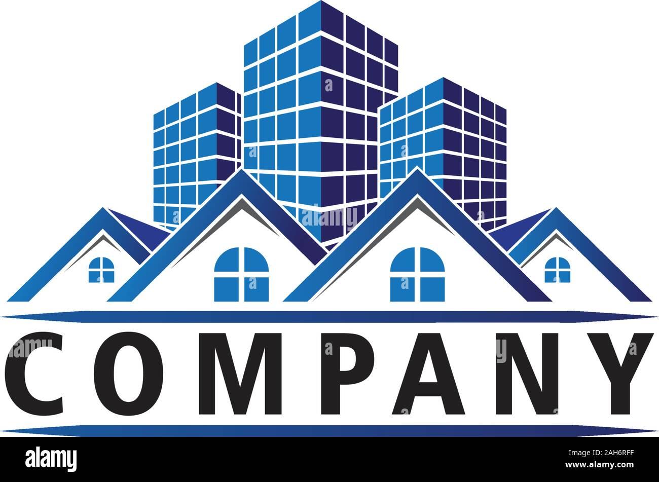 Real Estate Company Logo Design Template Blue House, bâtiment et Concept. L'élément de construction Architecture, appartement, résidence, Rouded forme Fenêtre Illustration de Vecteur