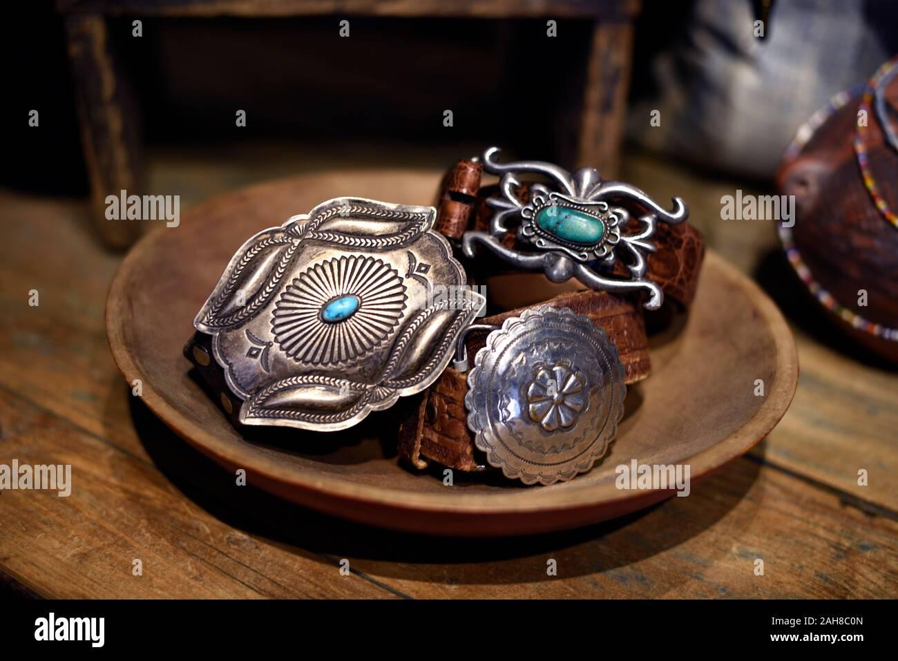 Silver Native American Indian Chief en métal argenté boucle de ceinture nouveau