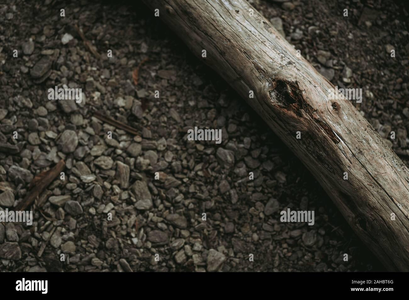 La texture de la pierre avec du bois du lac Banque D'Images