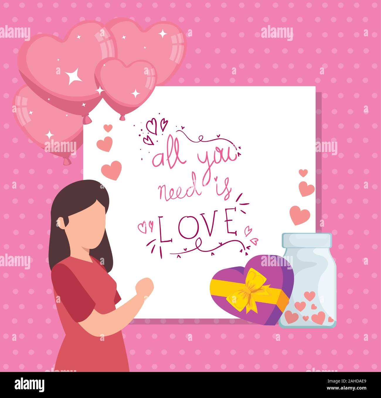 Poster avec tout ce qu'il vous faut, c'est l'amour et de la décoration Illustration de Vecteur