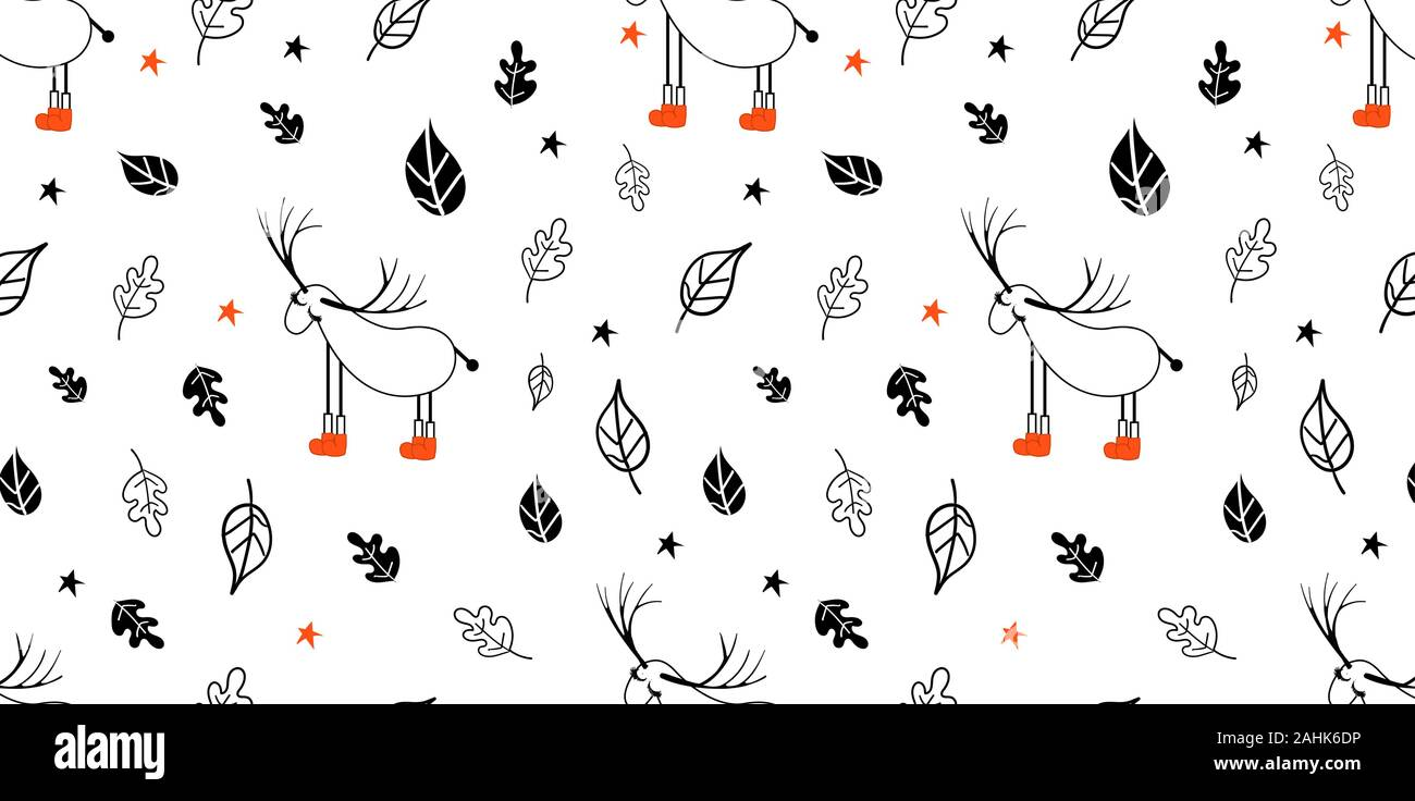 Lumiere Homogene Avec Des Cerfs Et D Arbres Dessin De Style Scandinave Art Lineaire Noir Blanc Illustration Bonjour L Hiver Image Vectorielle Stock Alamy