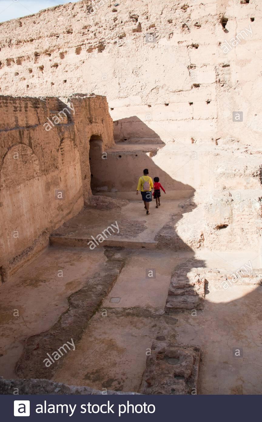 Ruines du palais El Badi à Marrakech (Marrakech), le Maroc, l'Afrique du Nord Banque D'Images