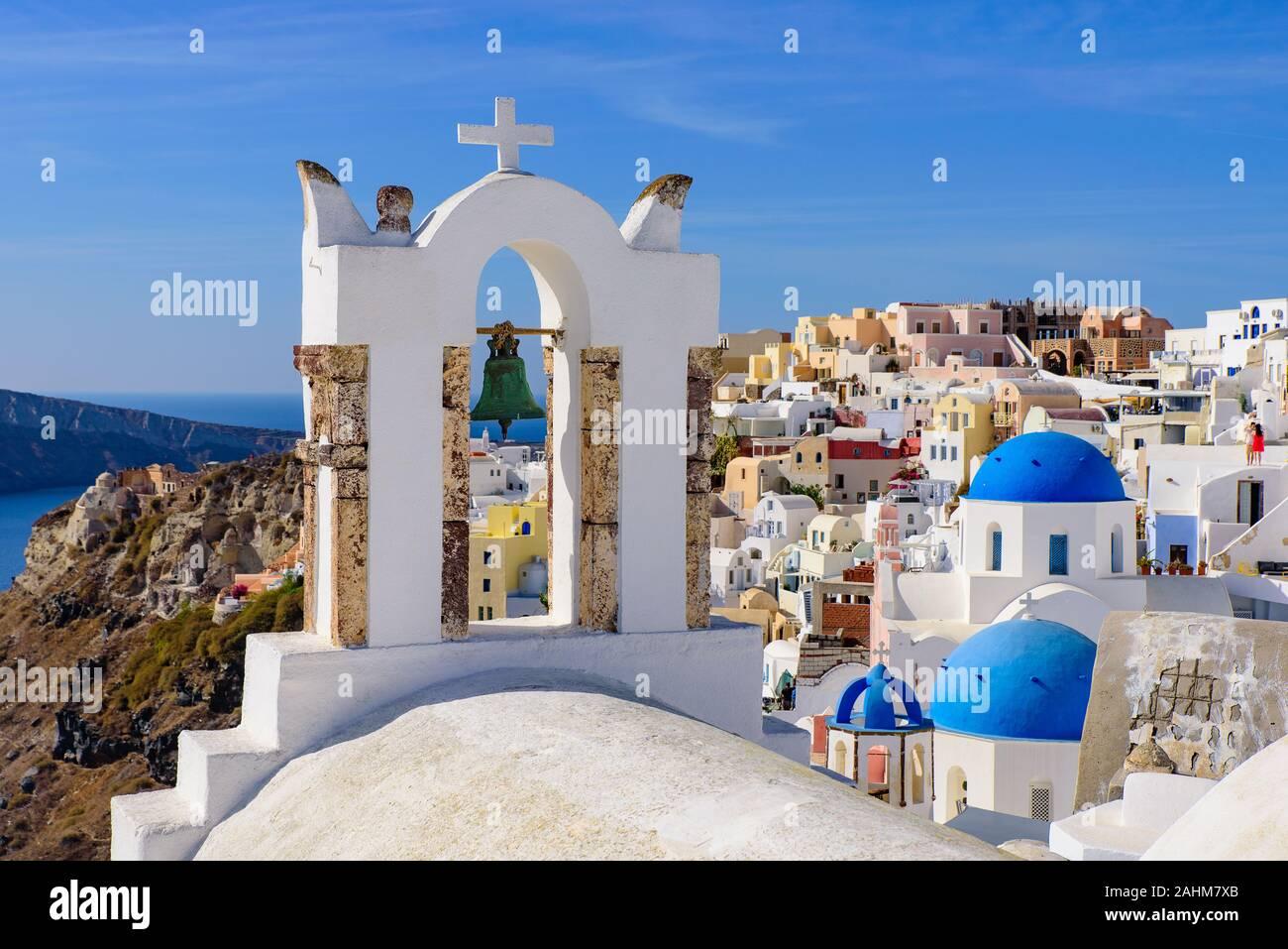 Clocher à Oia, Santorin, Grèce Banque D'Images