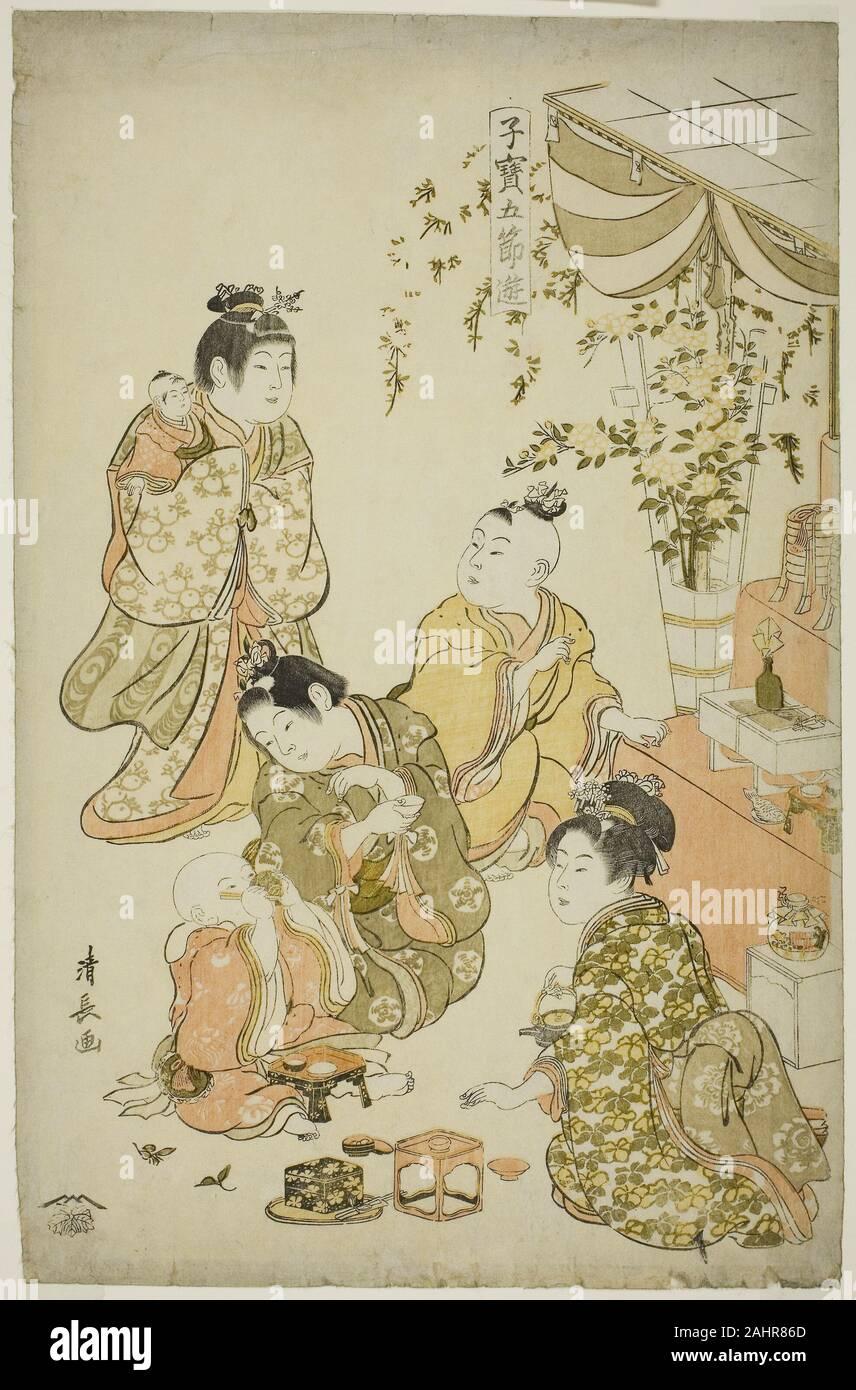 Torii Kiyonaga. Festival de la poupée, de la série Jeux d'enfants précieux des cinq festivals (Kodakara gosetsu asobi). 1796-1806. Le Japon. Estampe oban couleur; Banque D'Images