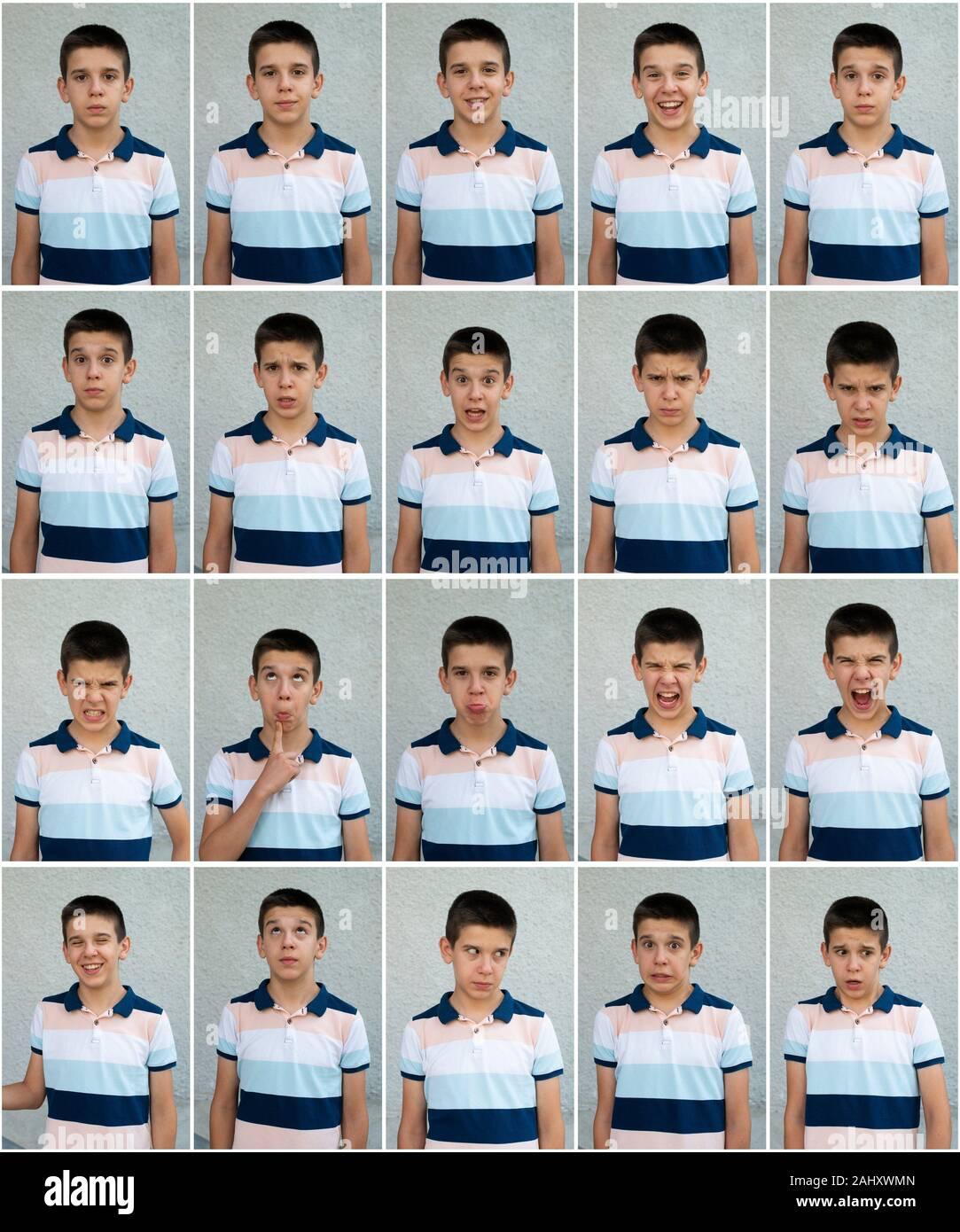 Visages De L Enfant De Nombreux Visages Montrant Les Emotions Et Les Expressions Visage Visage Adolescent Photo Stock Alamy
