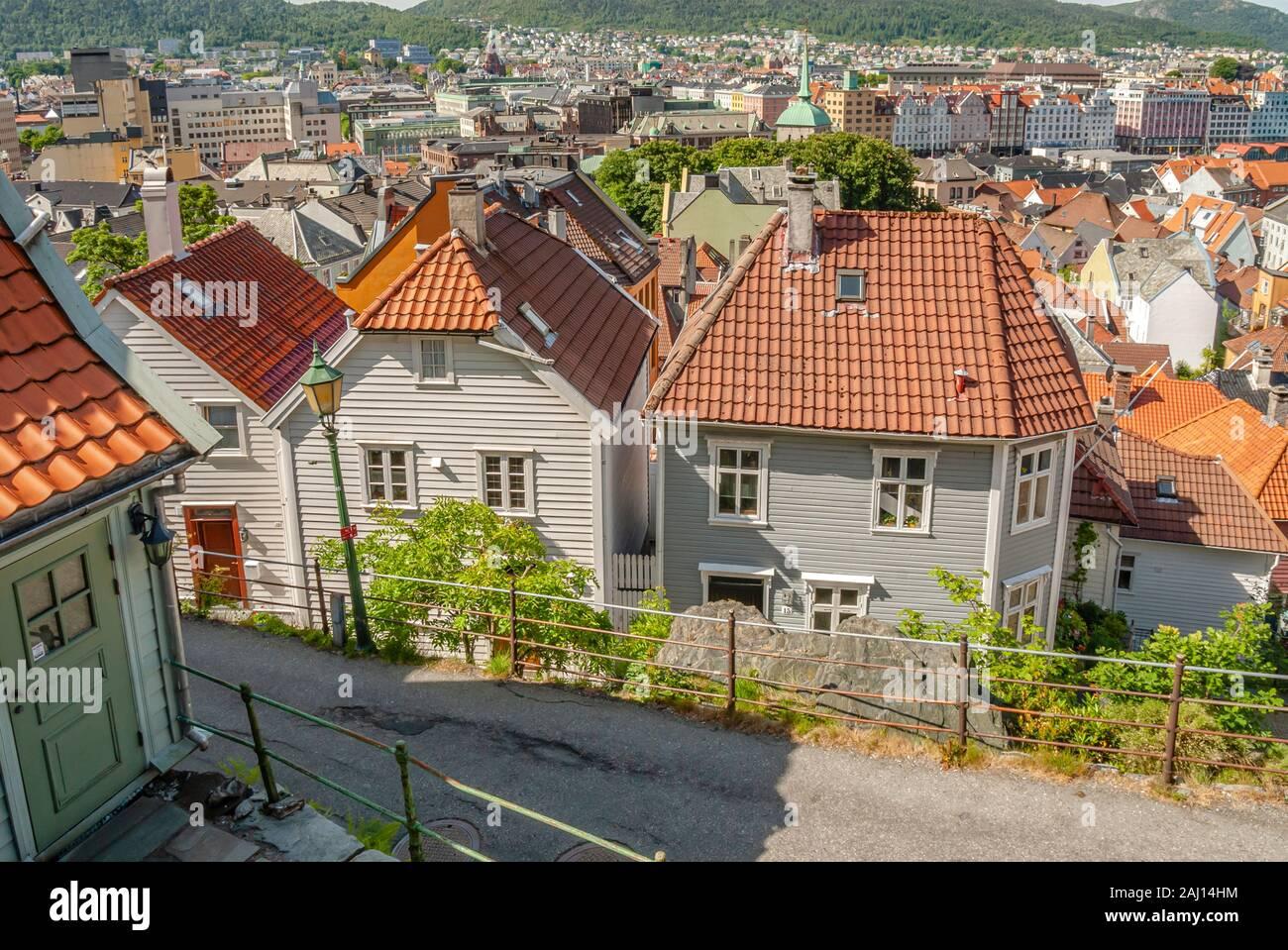 Vue sur la ville historique de Bergen, Norvège Banque D'Images