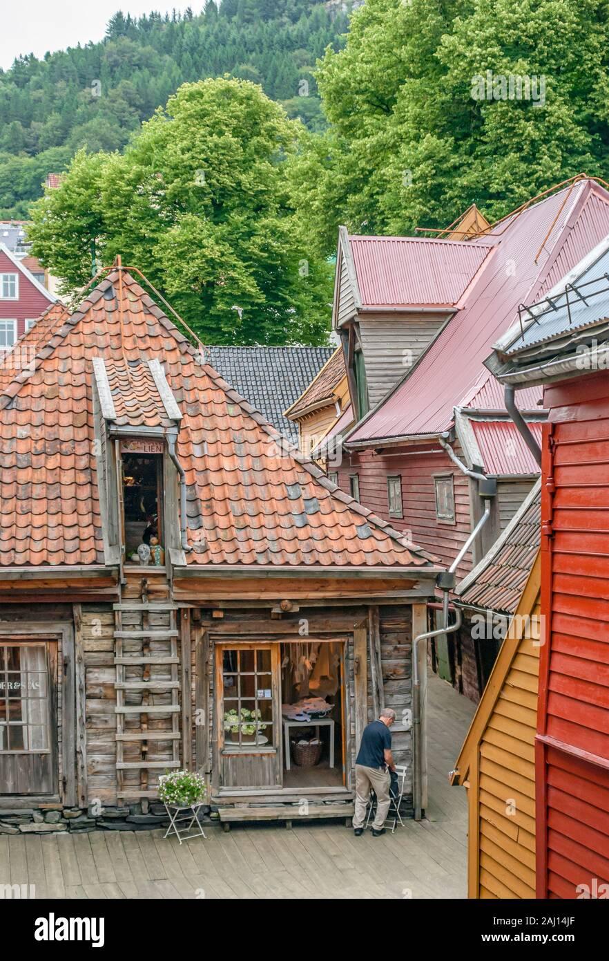 Entrepôts historiques du musée du patrimoine hanséatique de Brygge à Bergen, Norvège Banque D'Images