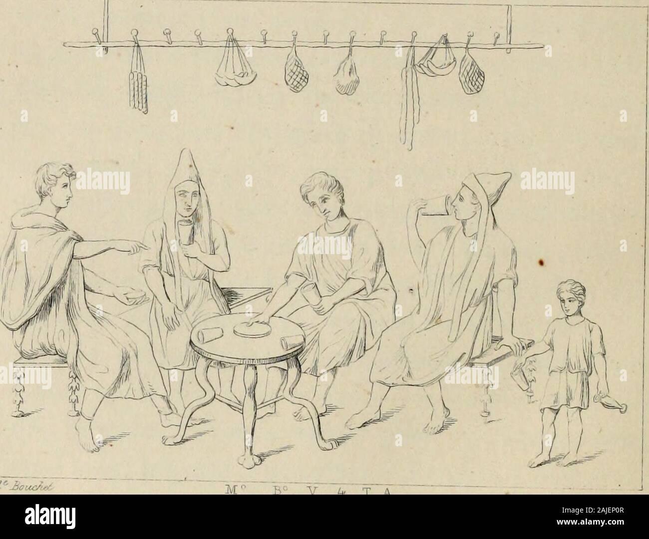 """Herculanum et Pompéi, recueil général des peintures, bronzes, mosaïques, etc. renseignements, jusqu'à ce jour, et reproduits d'apreès Le antichita di Ercolano, Il Museo borbonico, et tous les ouvrages analogues . B V L, T A U"""""""". Ujwené DEUXIÈME SÉRIE. 65 ou la Sarmatie a été confondue quelquefois avec dau-tres parties des rivages du Pont, telles que la Seythieou le pays des Hippopodes (i). PLANCHE 126. Une maison de Pompéi, séparée par une rue étroitede lédifice appelé Maison du Questeur, était décoréedune foule de peintures que lindécence du sujet une faitplacer dans le Musée secret. Le devant de Banque D'Images"""