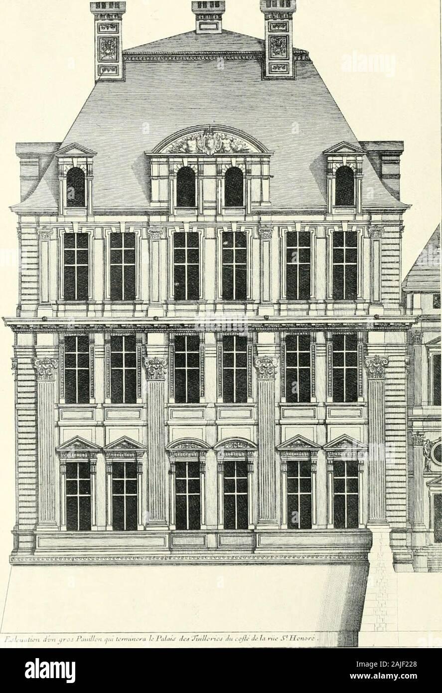 Une histoire de l'architecture française à partir de la mort de Mazarin jusqu'à la mort de Louis XV, 1661-1774 . H 5 O ^?<j&Lt;?<5 . [I. rr. 62, 6:^, Pi. XI. / TiSliuatuvi tfros Pauiltcn /dvn me Wmiinn-ra h PaUu^7Acjt tnUc*cij ixLceftc hxnt--dt&Lt; S^.Honarc 4 f t? 111?1 nul. J'ikiKs Niikiii-rii.I.wii.kin. lk Ar, je nii.dw ii; l'i.r ci.ki:,i (p. d;) 1. lo v::. C. 6j] Louis LE VAU 6 o ordre corinthien colossal et l'énorme érigés à l'extrémité sud de la rivière nextthe, conçu par les jeunes Du Cerceau sous Henri IV andLouis XIII. Le Vau achevé le palais jusqu'à l'Amérique du pavilion, y compris les t Banque D'Images