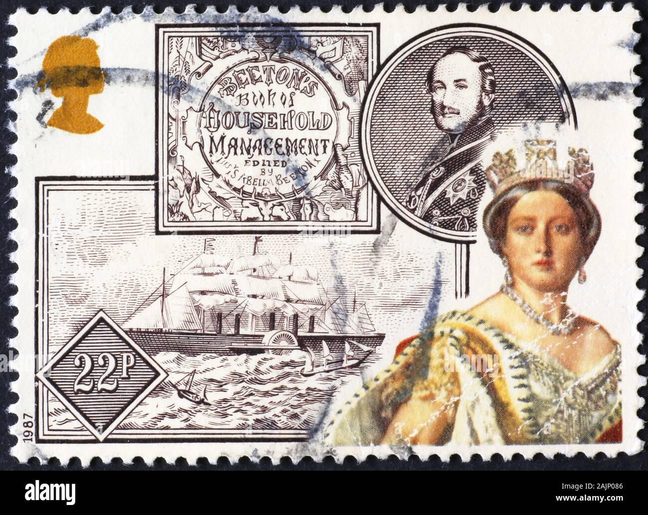 Jeune reine Victoria sur timbre-poste britannique Banque D'Images